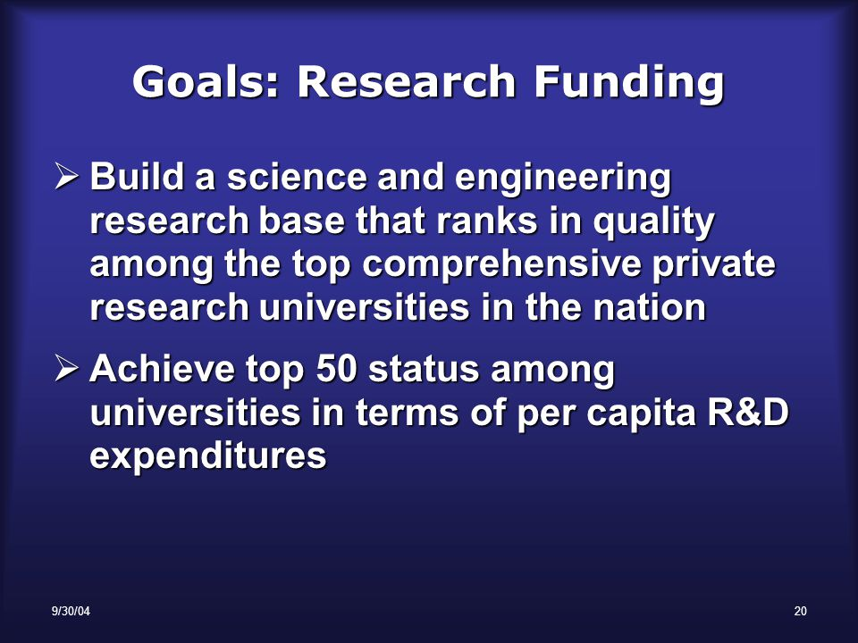 9/30/0420 Goals: Research Funding  Build a science and engineering research base that ranks in quality among the top comprehensive private research universities in the nation  Achieve top 50 status among universities in terms of per capita R&D expenditures