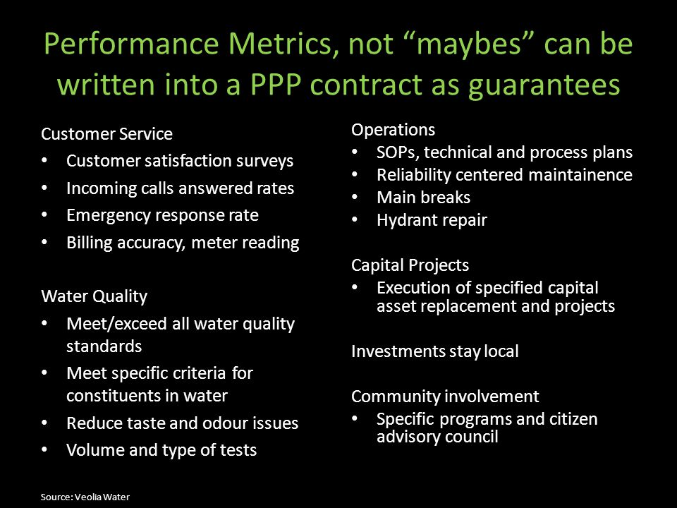 "Performance Metrics, not ""maybes"" can be written into a PPP contract as guarantees Customer Service Customer satisfaction surveys Incoming calls answe"