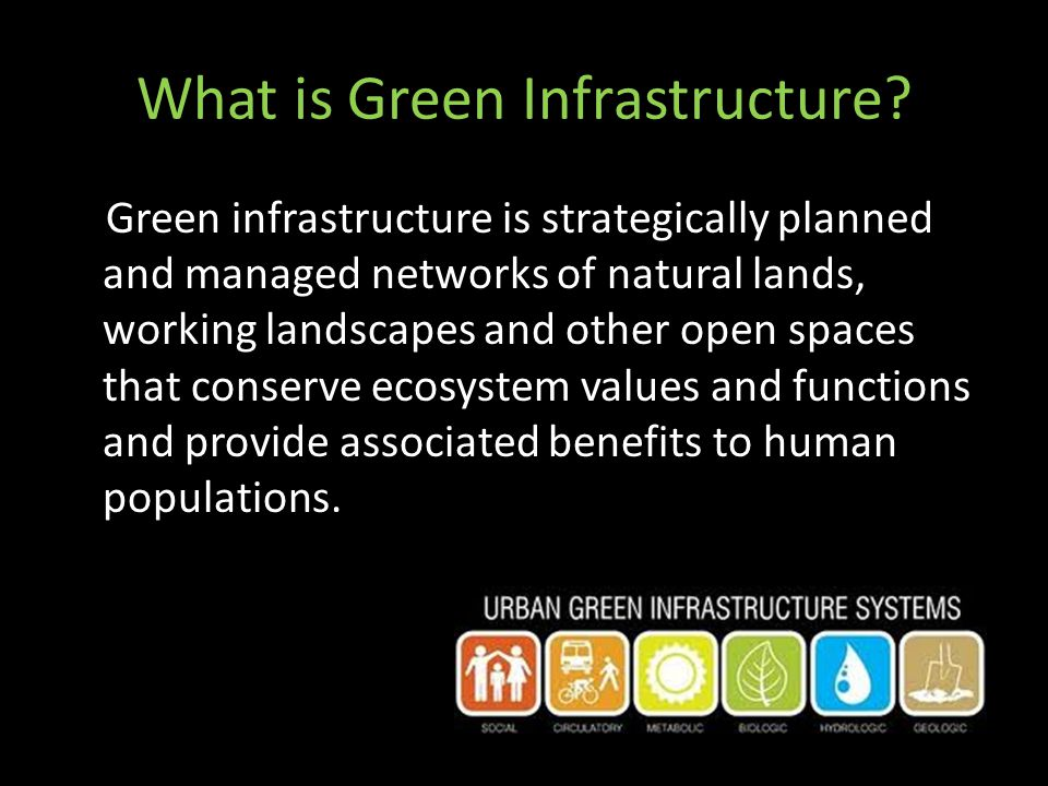 What is Green Infrastructure? Green infrastructure is strategically planned and managed networks of natural lands, working landscapes and other open s