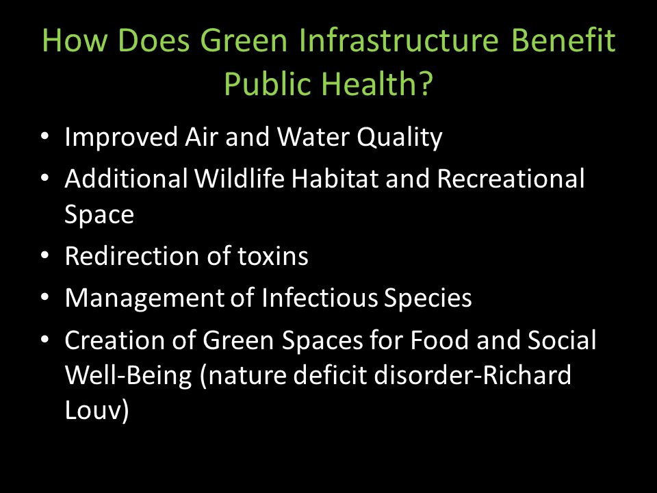 How Does Green Infrastructure Benefit Public Health? Improved Air and Water Quality Additional Wildlife Habitat and Recreational Space Redirection of