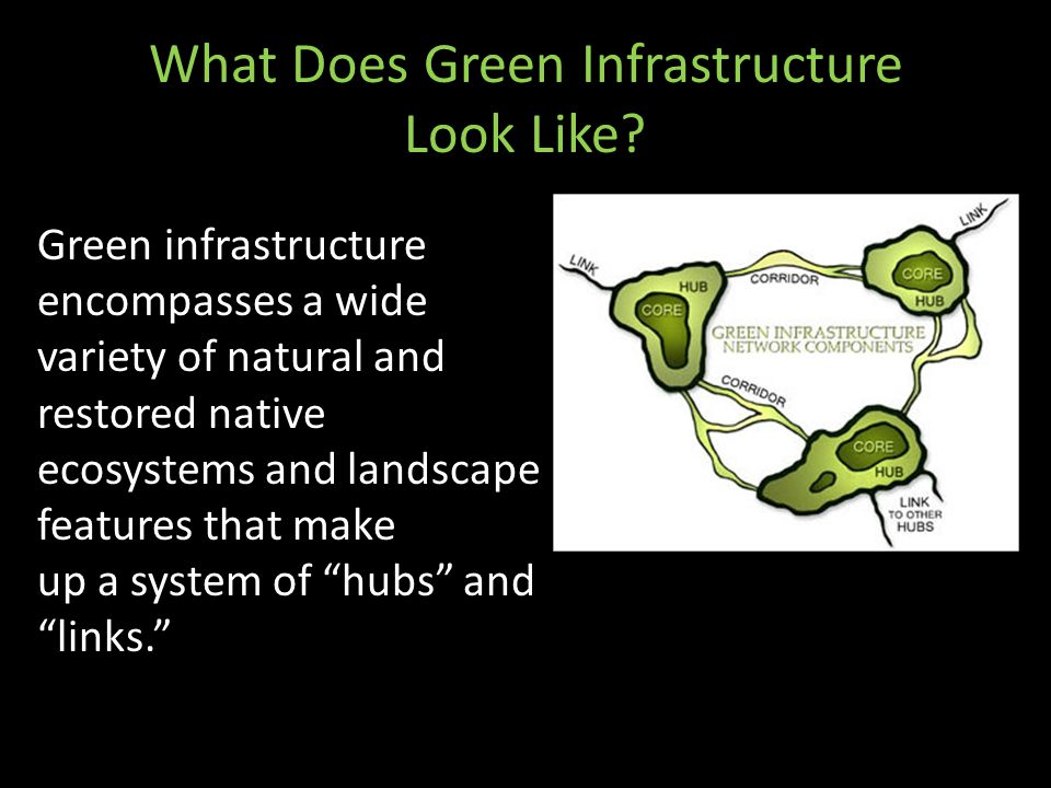 What Does Green Infrastructure Look Like? Green infrastructure encompasses a wide variety of natural and restored native ecosystems and landscape feat