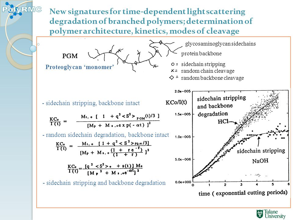 New signatures for time-dependent light scattering degradation of branched polymers; determination of polymer architecture, kinetics, modes of cleavage sidechain stripping random chain cleavage random backbone cleavage Proteoglycan 'monomer' glycosaminoglycan sidechains protein backbone - sidechain stripping, backbone intact - random sidechain degradation, backbone intact - sidechain stripping and backbone degradation