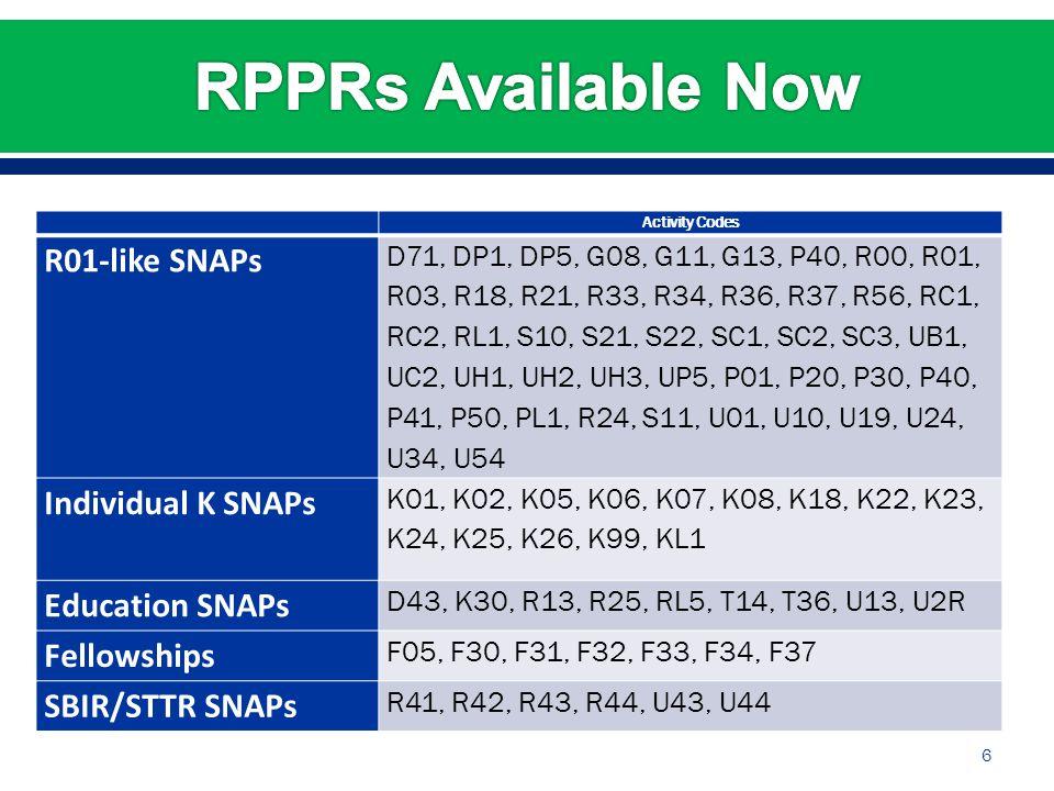 6 Activity Codes R01-like SNAPs D71, DP1, DP5, G08, G11, G13, P40, R00, R01, R03, R18, R21, R33, R34, R36, R37, R56, RC1, RC2, RL1, S10, S21, S22, SC1