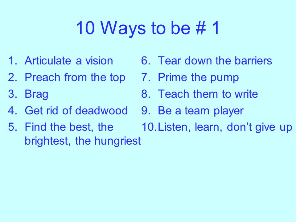 # 9 Be a team player Create working groups in your focus areas –Epidemiologist, clinicians, laboratory scientists, social scientists –Include trainees, young faculty and senior faculty Create spaces for networking-coffee shop, atriums Don't promote mean people Make friends at meetings