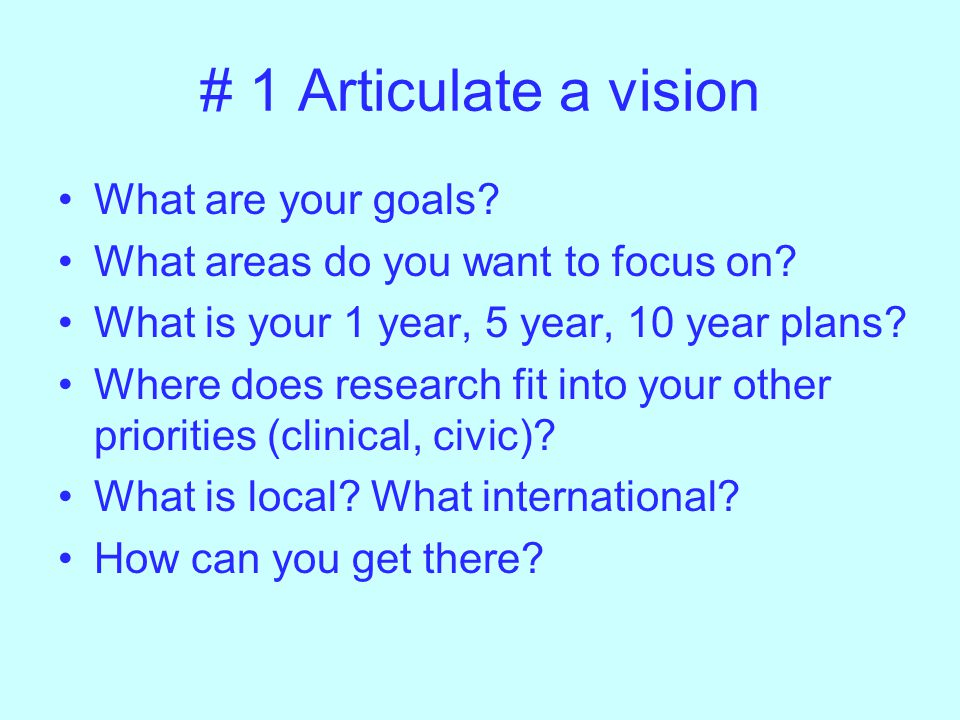 # 1 Articulate a vision What are your goals. What areas do you want to focus on.