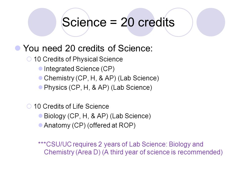 Science = 20 credits You need 20 credits of Science:  10 Credits of Physical Science Integrated Science (CP) Chemistry (CP, H, & AP) (Lab Science) Ph