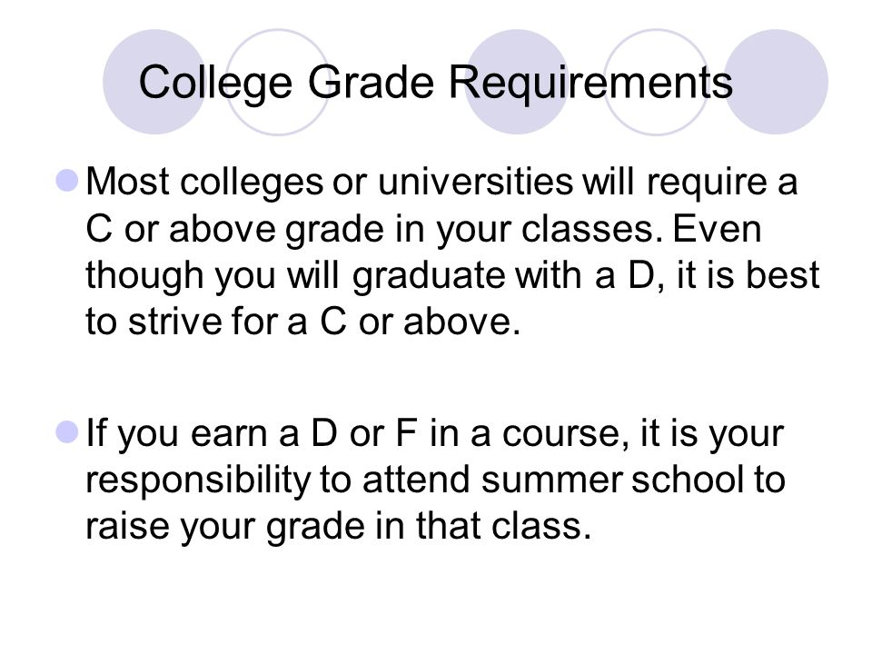 College Grade Requirements Most colleges or universities will require a C or above grade in your classes. Even though you will graduate with a D, it i