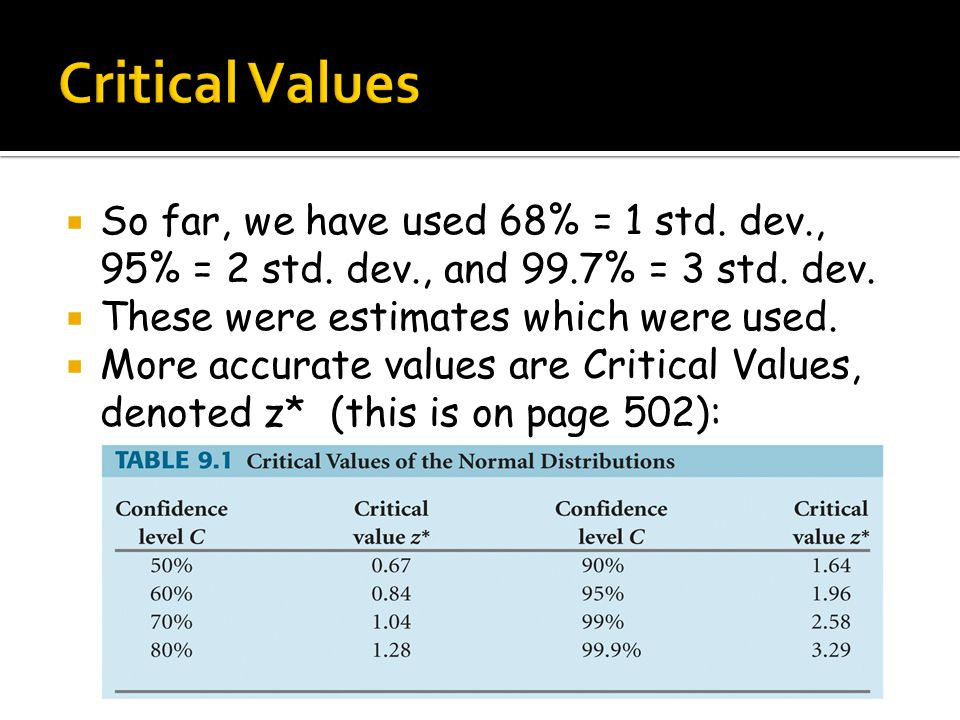  So far, we have used 68% = 1 std. dev., 95% = 2 std. dev., and 99.7% = 3 std. dev.  These were estimates which were used.  More accurate values ar