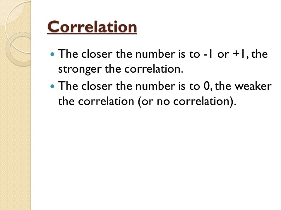 Correlation The closer the number is to -1 or +1, the stronger the correlation.