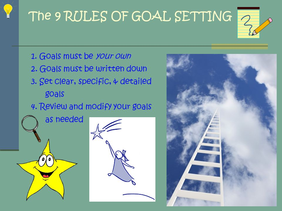 WHY SET GOALS Motivation Focus Improves Self-Confidence Satisfied life