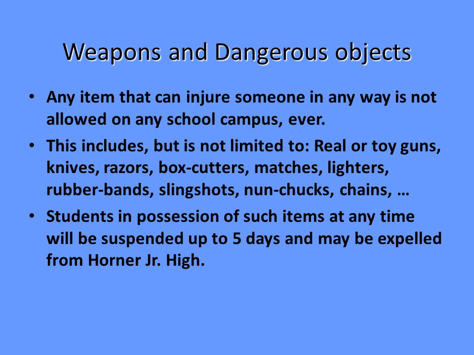 Non Instructional Items In general, any item that interferes with instruction and learning, or is not needed for a class, is not allowed in class or at school.