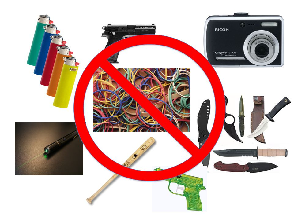 Weapons and Dangerous objects Any item that can injure someone in any way is not allowed on any school campus, ever. This includes, but is not limited