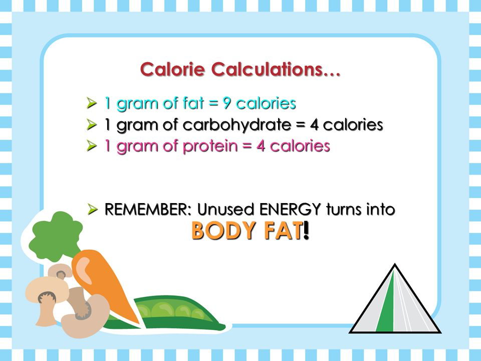 Calories= ENERGY! Our body NEEDS Energy! Calories= ENERGY!  Only 3 classes of nutrients provide calories, or energy, to our bodies: Fats, Carbohydrat