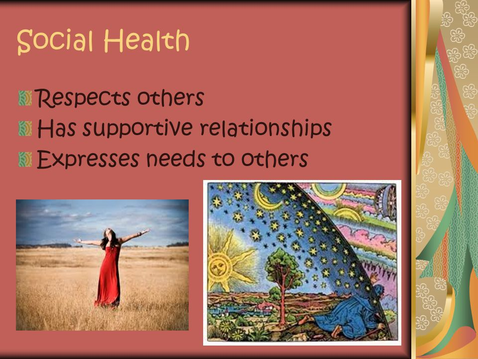 Social Health Respects others Has supportive relationships Expresses needs to others