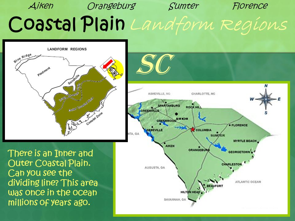 Coastal Plain Landform Regions There is an Inner and Outer Coastal Plain. Can you see the dividing line? This area was once in the ocean millions of y