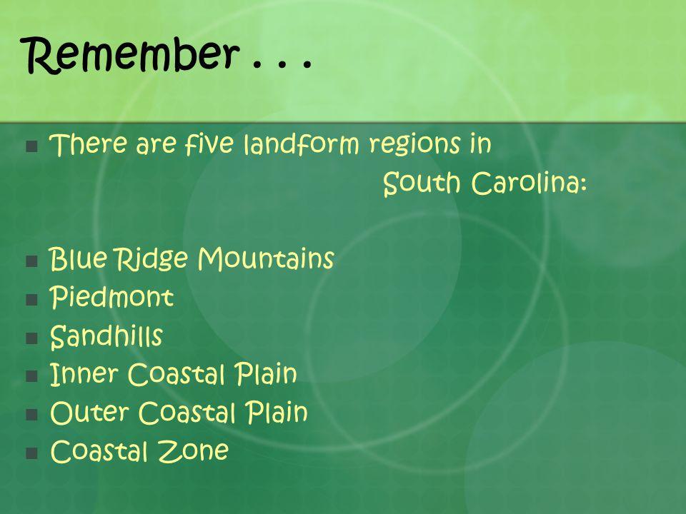 Remember... There are five landform regions in South Carolina: Blue Ridge Mountains Piedmont Sandhills Inner Coastal Plain Outer Coastal Plain Coastal