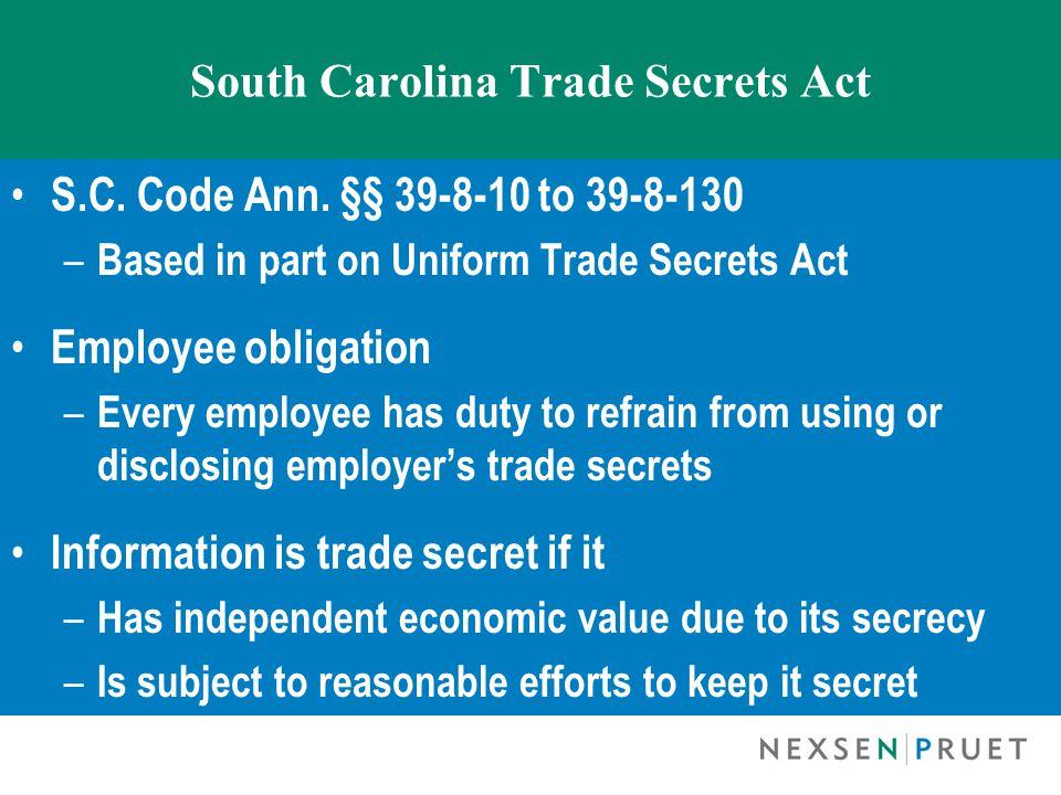 South Carolina Trade Secrets Act S.C. Code Ann.