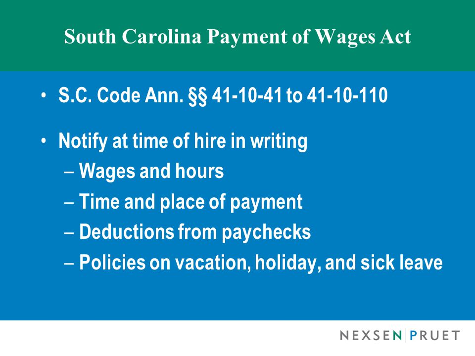 South Carolina Payment of Wages Act S.C. Code Ann.