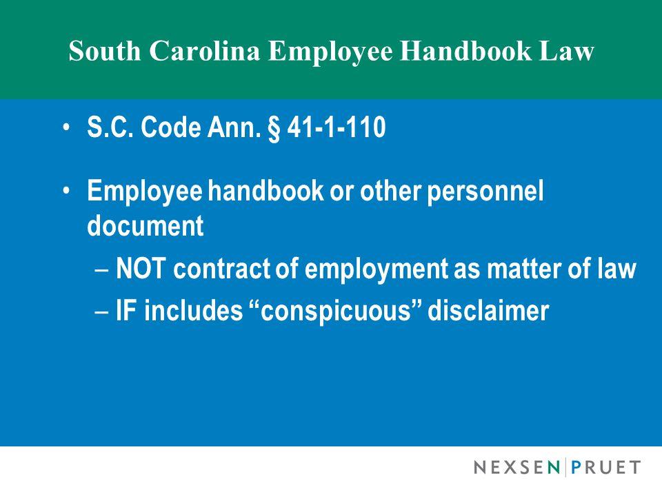 South Carolina Employee Handbook Law S.C. Code Ann.