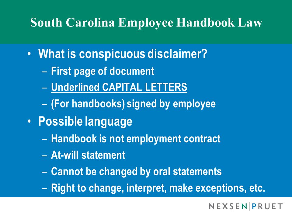 South Carolina Employee Handbook Law What is conspicuous disclaimer.