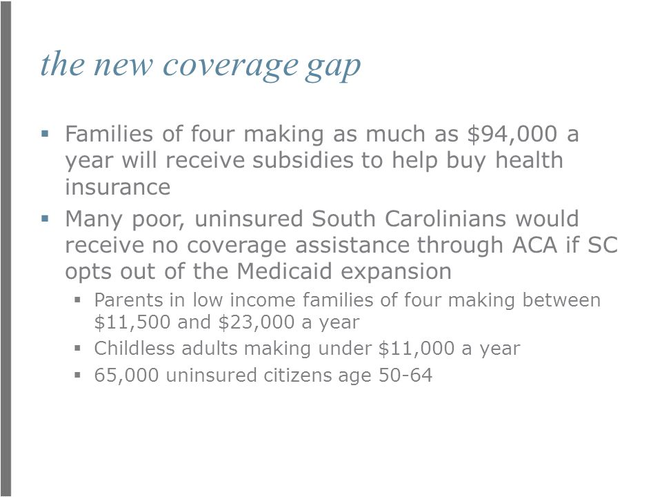 the new coverage gap  Families of four making as much as $94,000 a year will receive subsidies to help buy health insurance  Many poor, uninsured So