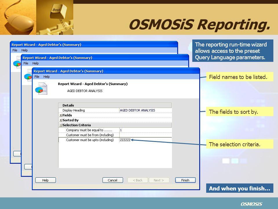 OSMOSiS OSMOSiS Reporting.