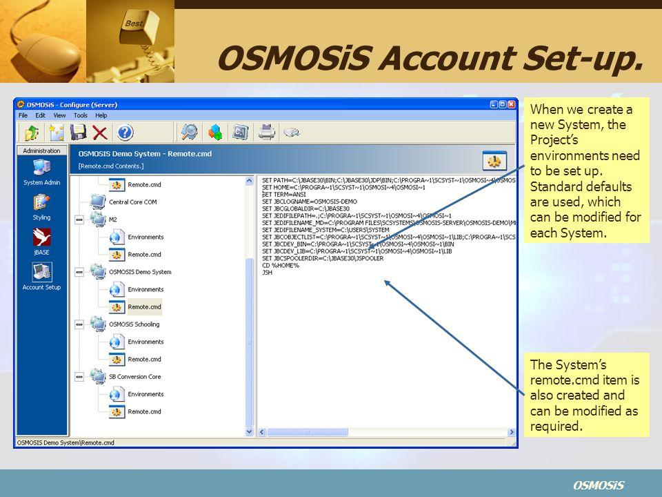 OSMOSiS OSMOSiS Account Set-up.