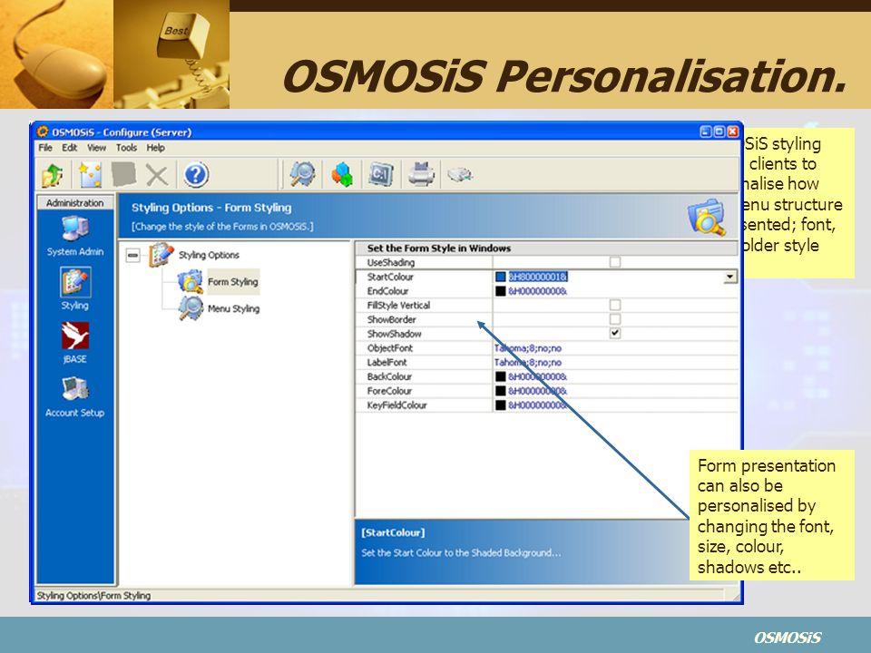 OSMOSiS OSMOSiS Personalisation.