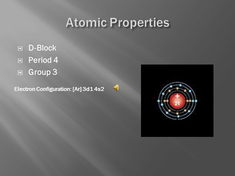 Number of Protons/Electrons: 21 Number of Neutrons: 24 Symbol: Sc Atomic Number: 21 Atomic Mass: 44.95591