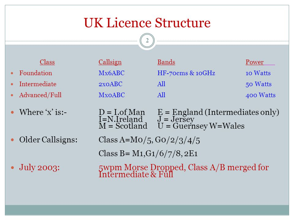 UK Licence Structure ClassCallsignBandsPower Foundation Mx6ABCHF-70cms & 10GHz10 Watts Intermediate2x0ABCAll50 Watts Advanced/FullMx0ABCAll400 Watts Where 'x' is:- D = I.of ManE = England (Intermediates only) I=N.IrelandJ = Jersey M = ScotlandU = Guernsey W=Wales Older Callsigns:Class A=M0/5, G0/2/3/4/5 Class B= M1,G1/6/7/8, 2E1 July 2003: 5wpm Morse Dropped, Class A/B merged for Intermediate & Full 2