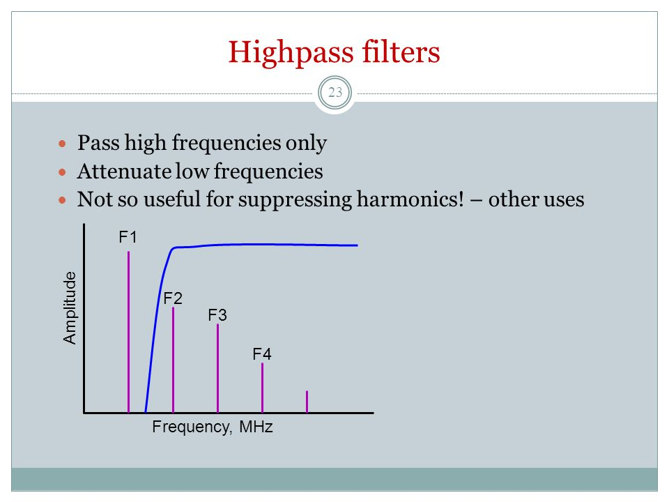 Highpass filters Pass high frequencies only Attenuate low frequencies Not so useful for suppressing harmonics.