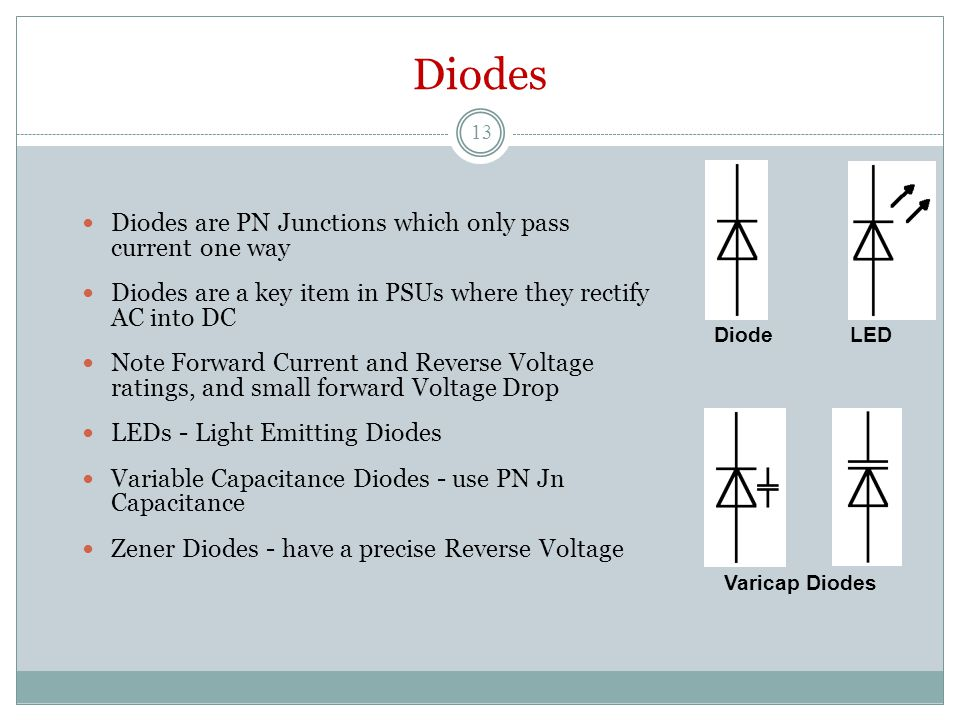Diodes Diodes are PN Junctions which only pass current one way Diodes are a key item in PSUs where they rectify AC into DC Note Forward Current and Reverse Voltage ratings, and small forward Voltage Drop LEDs - Light Emitting Diodes Variable Capacitance Diodes - use PN Jn Capacitance Zener Diodes - have a precise Reverse Voltage Varicap Diodes Diode LED 13