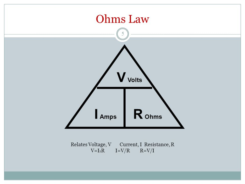 Ohms Law Relates Voltage, VCurrent, IResistance, R V=I x RI=V/RR=V/I V Volts I Amps R Ohms 5
