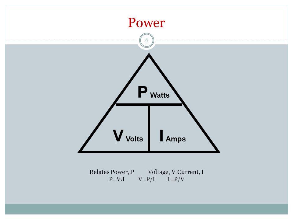 Power Relates Power, PVoltage, VCurrent, I P=V x IV=P/II=P/V P Watts V Volts I Amps 6