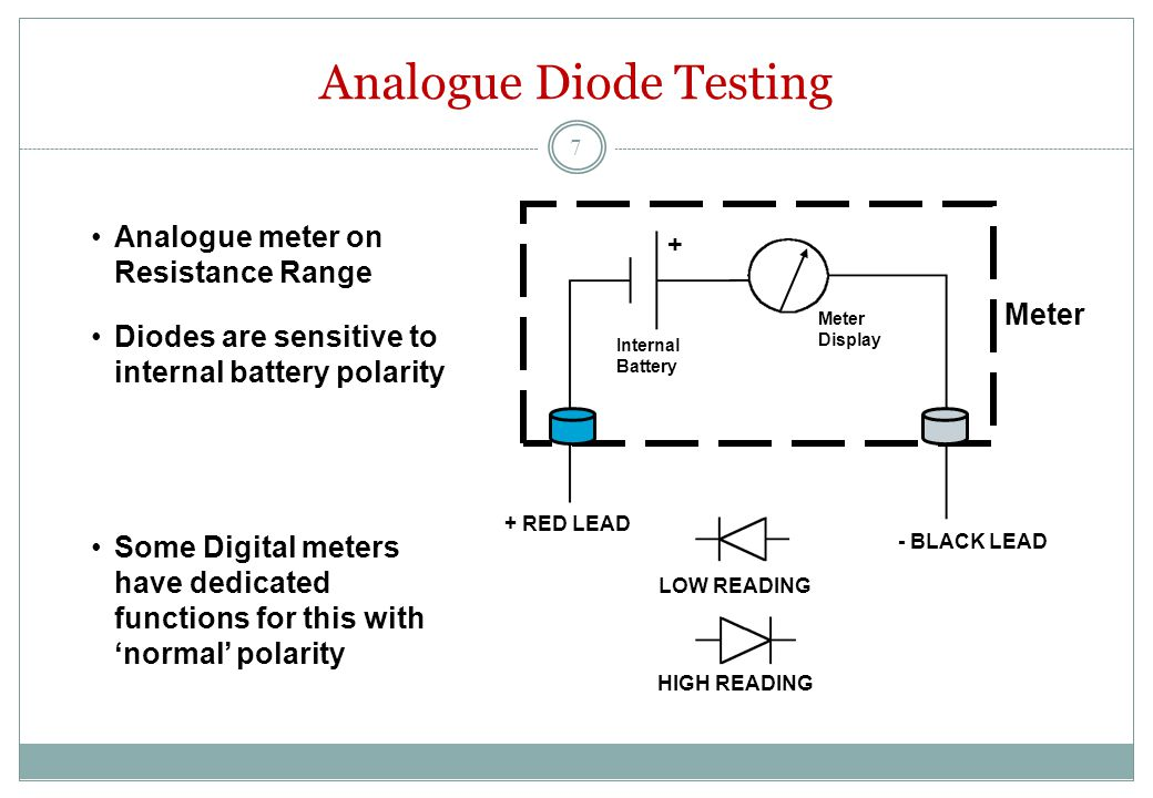+ Meter + RED LEAD - BLACK LEAD Internal Battery Meter Display Analogue Diode Testing LOW READING HIGH READING Analogue meter on Resistance Range Diodes are sensitive to internal battery polarity Some Digital meters have dedicated functions for this with 'normal' polarity 7