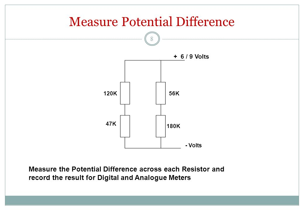 Measure Potential Difference 120K56K 47K 180K + 6 / 9 Volts - Volts Measure the Potential Difference across each Resistor and record the result for Digital and Analogue Meters 8