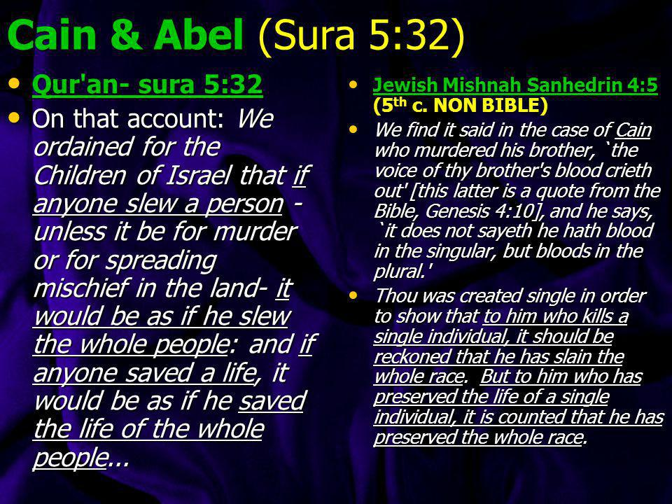 * Cain and Abel show (Sura 5:31): Sura 5:31 Then Allah sent a raven, who scratched the ground, to show him how to hide the shame of his brother. `Woe