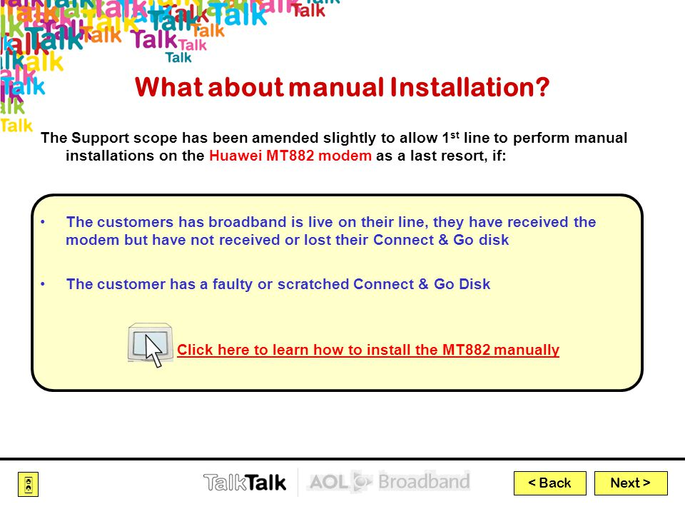 Next >  < Back What about manual Installation.