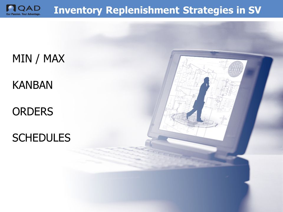 QAD Proprietary Inventory Replenishment Strategies in SV MIN / MAX KANBAN ORDERS SCHEDULES