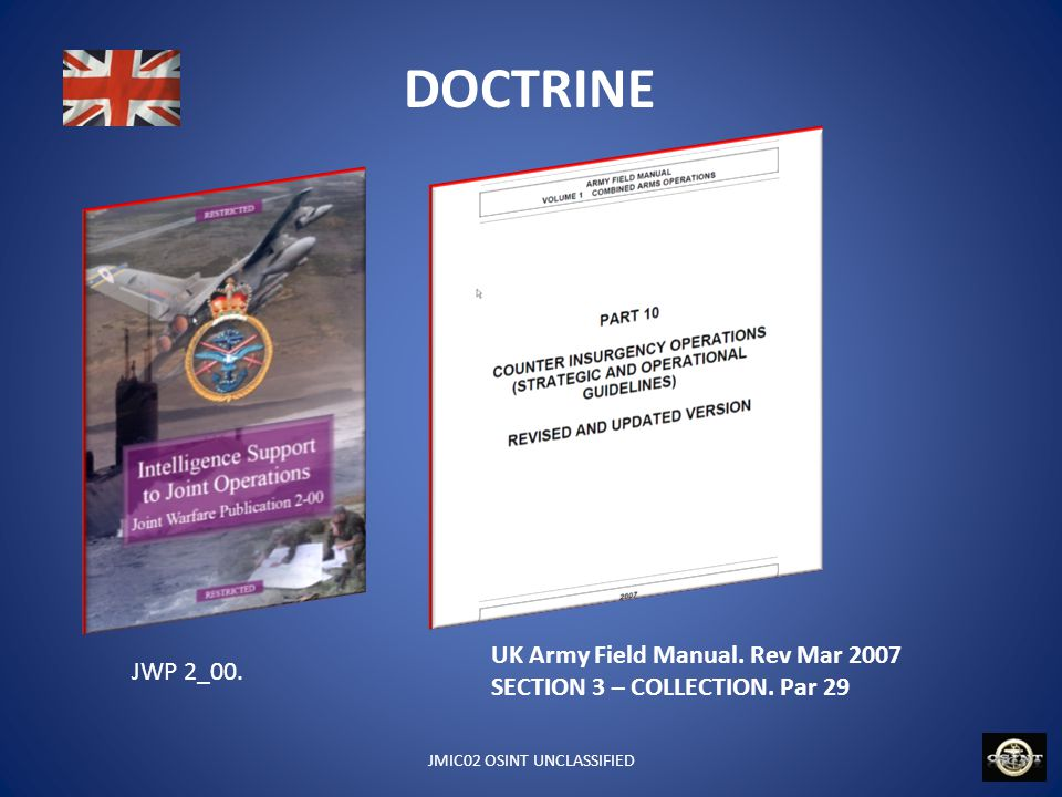 JMIC02 OSINT UNCLASSIFIED DOCTRINE JWP 2_00. UK Army Field Manual. Rev Mar 2007 SECTION 3 – COLLECTION. Par 29