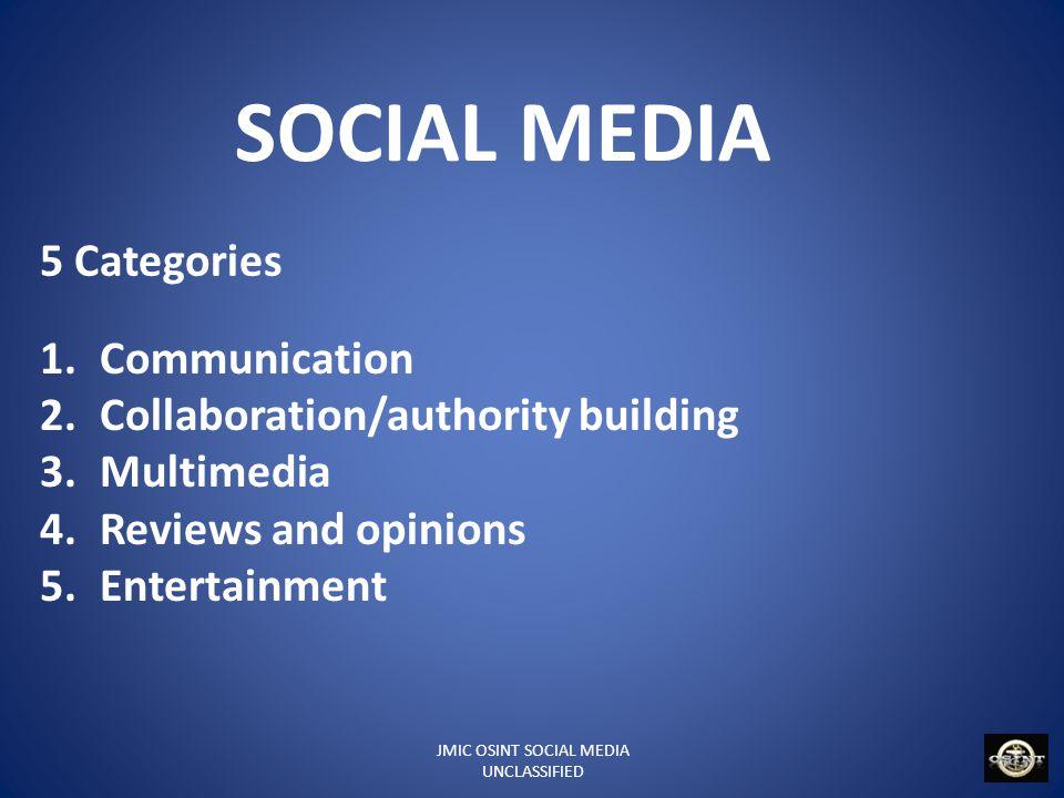 JMIC OSINT SOCIAL MEDIA UNCLASSIFIED SOCIAL MEDIA 1.Communication Blogs: Blogger, ExpressionEngine, LiveJournal, Open Diary, TypePad, Vox, WordPress, Xanga Microblogging: FMyLife, Foursquare, Jaiku, Plurk, Posterous, Tumblr, Twitter, Qaiku, Yammer, Google Buzz, Identi.ca Nasza-Klasa.pl Location-based social networks: Foursquare, Geoloqi, Gowalla, Facebook places, The Hotlist Social networking: ASmallWorld, Bebo, Cyworld, Diaspora, Facebook, Hi5, Hyves, LinkedIn, MySpace, Ning, Orkut, Plaxo, Tagged, XING, IRC Events: Eventful, The Hotlist, Meetup.com, Upcoming Information Aggregators: Netvibes, Twine (website) Online Advocacy and Fundraising: Causes, Kickstarter
