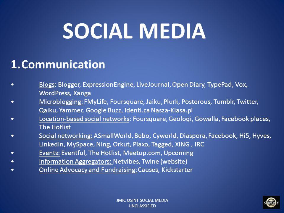 JMIC OSINT SOCIAL MEDIA UNCLASSIFIED SOCIAL MEDIA 2.