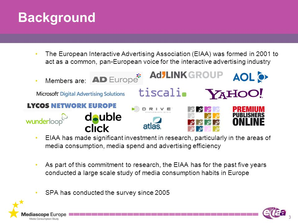 3 Background The European Interactive Advertising Association (EIAA) was formed in 2001 to act as a common, pan-European voice for the interactive advertising industry Members are: EIAA has made significant investment in research, particularly in the areas of media consumption, media spend and advertising efficiency As part of this commitment to research, the EIAA has for the past five years conducted a large scale study of media consumption habits in Europe SPA has conducted the survey since 2005