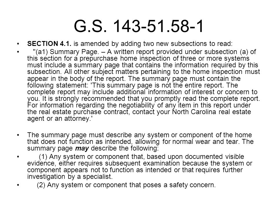 G.S.143-51.58-1 SECTION 4.1. is amended by adding two new subsections to read: (a1) Summary Page.