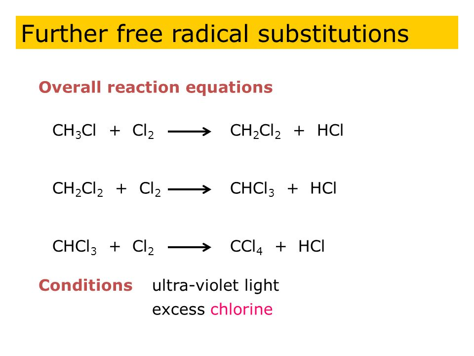 CH 3 Cl + Cl 2 CH 2 Cl 2 + HCl Overall reaction equations Conditionsultra-violet light CH 2 Cl 2 + Cl 2 CHCl 3 + HCl CHCl 3 + Cl 2 CCl 4 + HCl excess