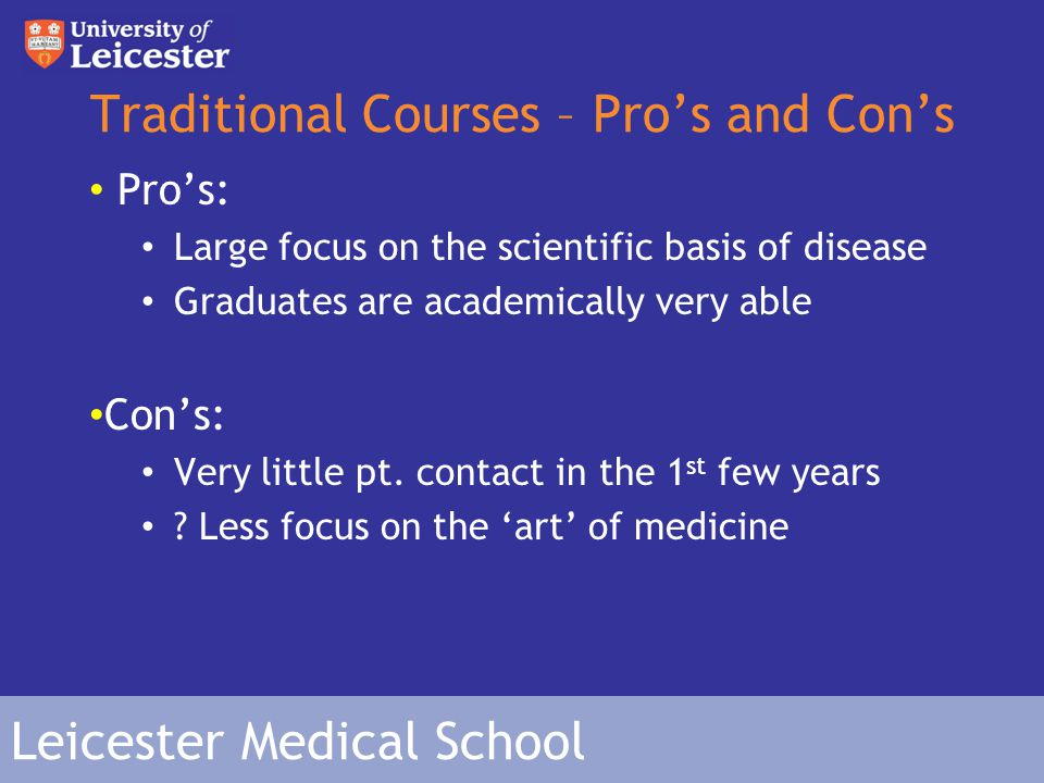 Leicester Medical School Problem-Based Learning (PBL) Pioneered by Liverpool Medical School (in UK).