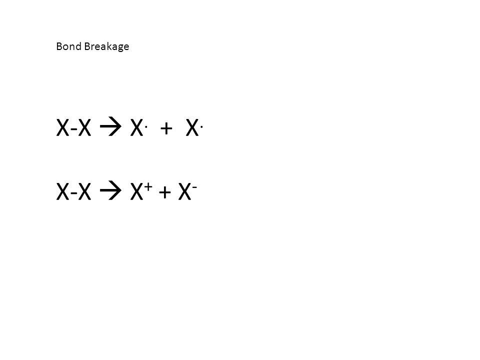 Bond Breakage X-X  X. + X. X-X  X + + X -