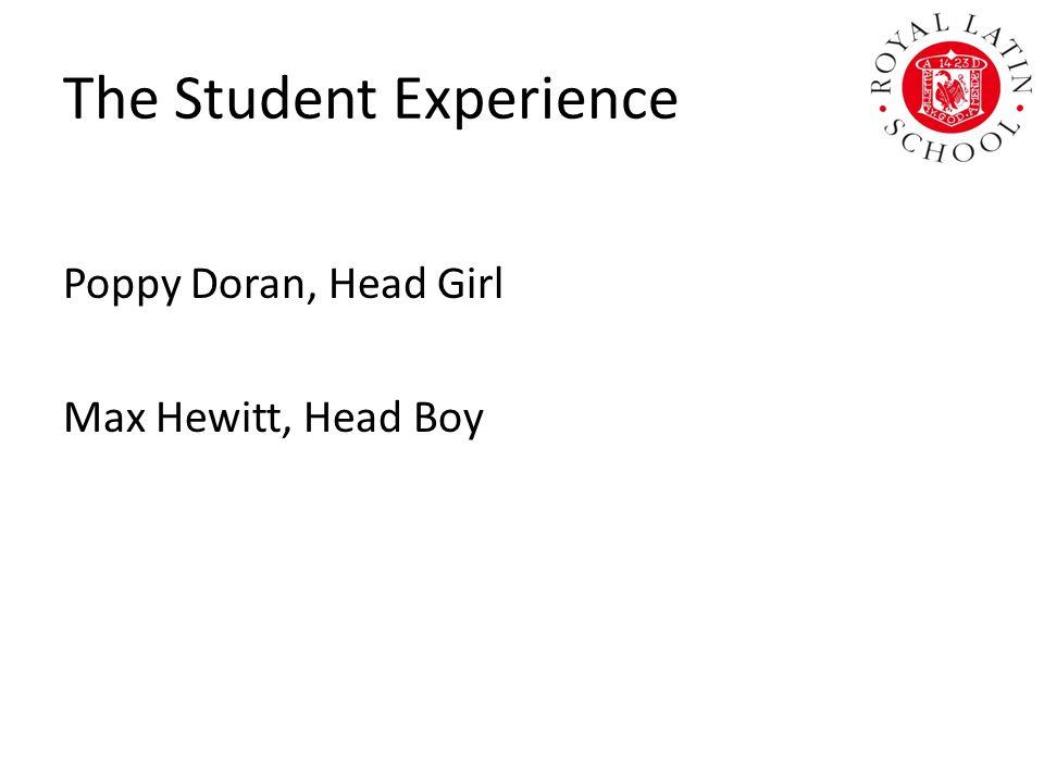 The Student Experience Poppy Doran, Head Girl Max Hewitt, Head Boy