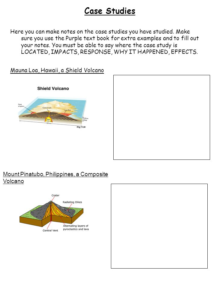 Case Studies Here you can make notes on the case studies you have studied. Make sure you use the Purple text book for extra examples and to fill out y
