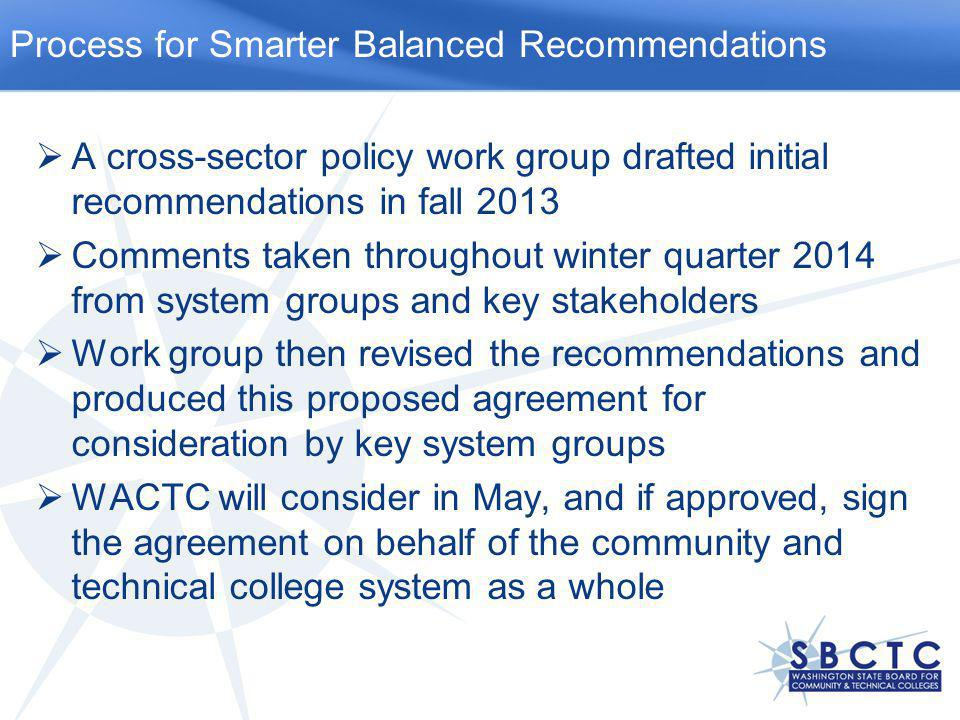  A cross-sector policy work group drafted initial recommendations in fall 2013  Comments taken throughout winter quarter 2014 from system groups and key stakeholders  Work group then revised the recommendations and produced this proposed agreement for consideration by key system groups  WACTC will consider in May, and if approved, sign the agreement on behalf of the community and technical college system as a whole Process for Smarter Balanced Recommendations